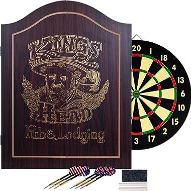 King's Head Dark Wood Dartboard Cabinet Set