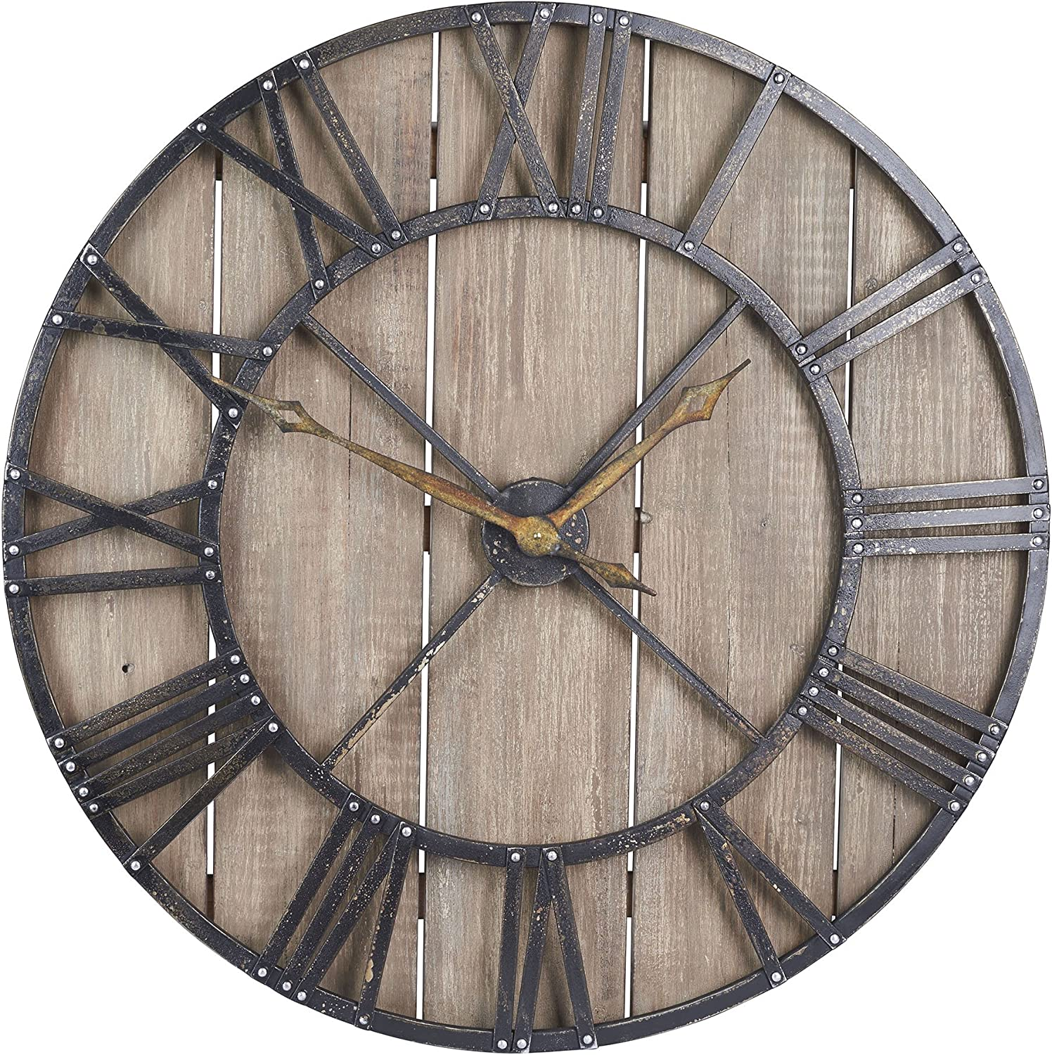 Amazon Com Household Essentials Large Oversized Decorative Rustic Wall Clock Brown Wood Black Metal Home Kitchen