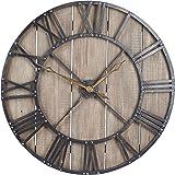 Household Essentials Large Oversized Decorative Rustic Wall Clock, Brown Wood / black Metal