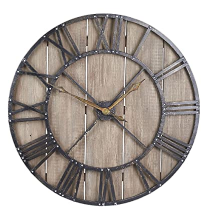 fa3c735bd686 Household Essentials Large Oversized Decorative Rustic Wall Clock, Brown  Wood/Black Metal