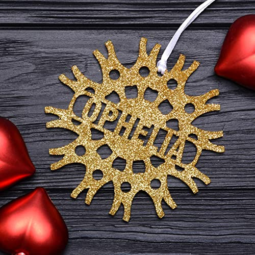 christmas personalized snowflakegold glittered ornaments custom wooden snowflakes christmas decorations handmade - Wooden Christmas Decorations To Make