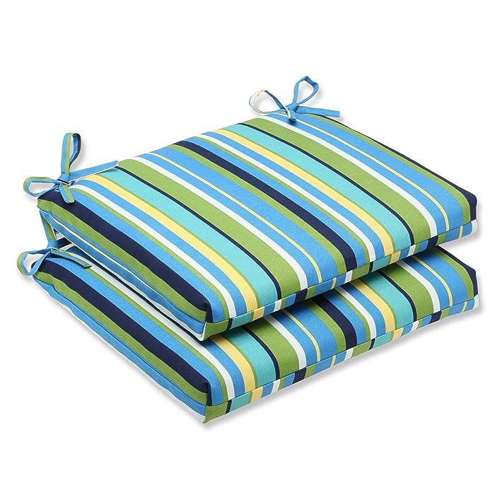 Pillow Perfect Outdoor Topanga Stripe Lagoon Squared Corners Seat Cushion, Set of 2
