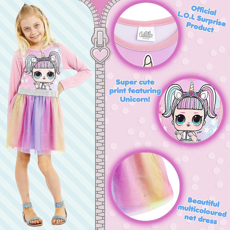 Party Kleid Sommer Prinzessinenkleid M/ädchen Rock mit Einhorn LOL Puppe M/ädchen Kleider Geschenke f/ür Kinder L.O.L Surprise Zuckert/üte Regenbogen