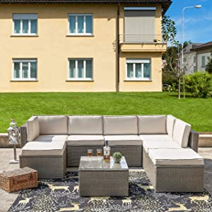 LOKATSE HOME 8 Piece Outdoor Conversation Set Rattan Wicker Patio Furniture Sectional Sofa with Cushion and Glass Table, 8-pc, Beige