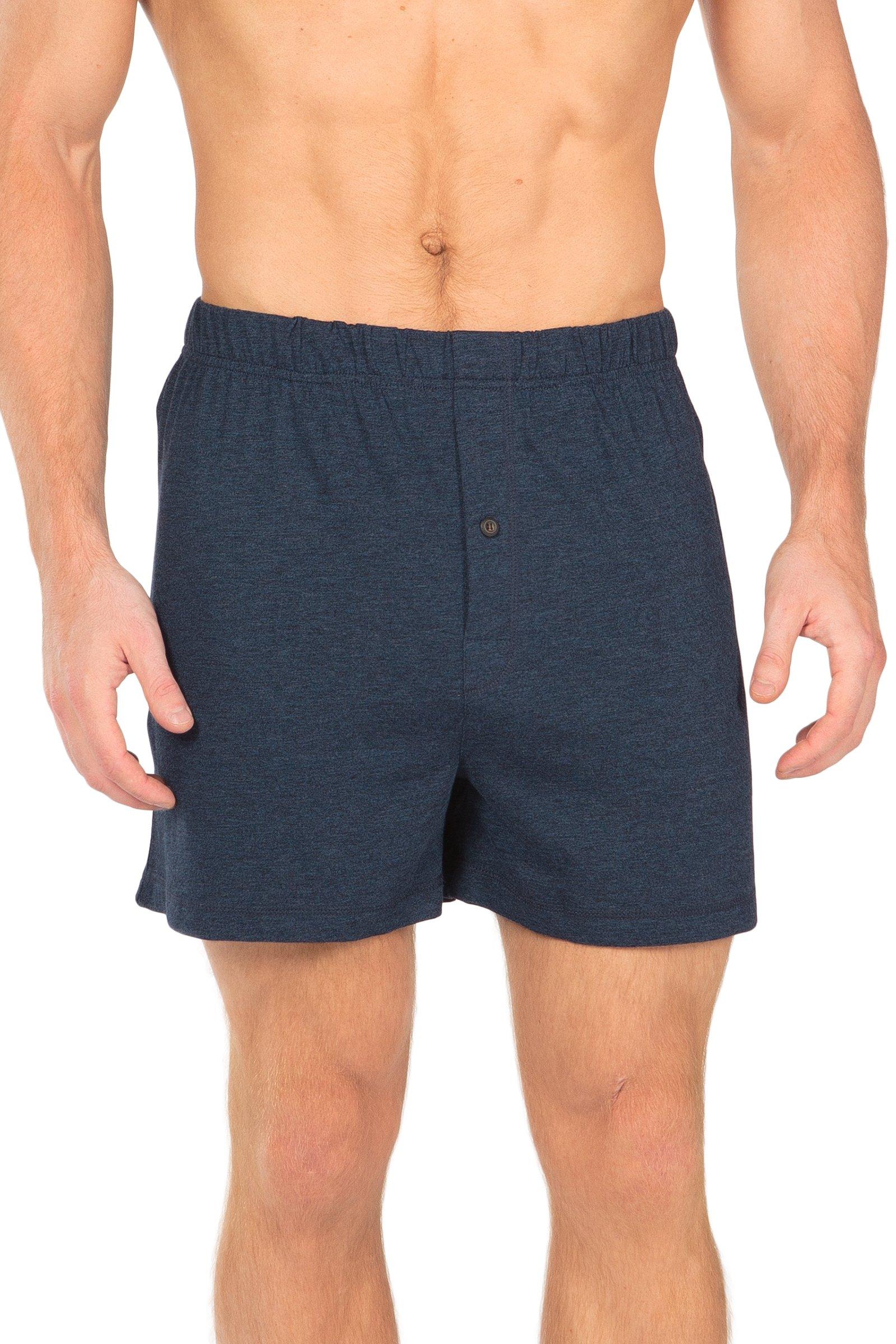 Men's Boxer Shorts - Single Pack Bamboo Viscose Underwear by Texere (Sancus, Heather Blue, Large) Most Comfortable Men's Boxers MB6104-2U1-L