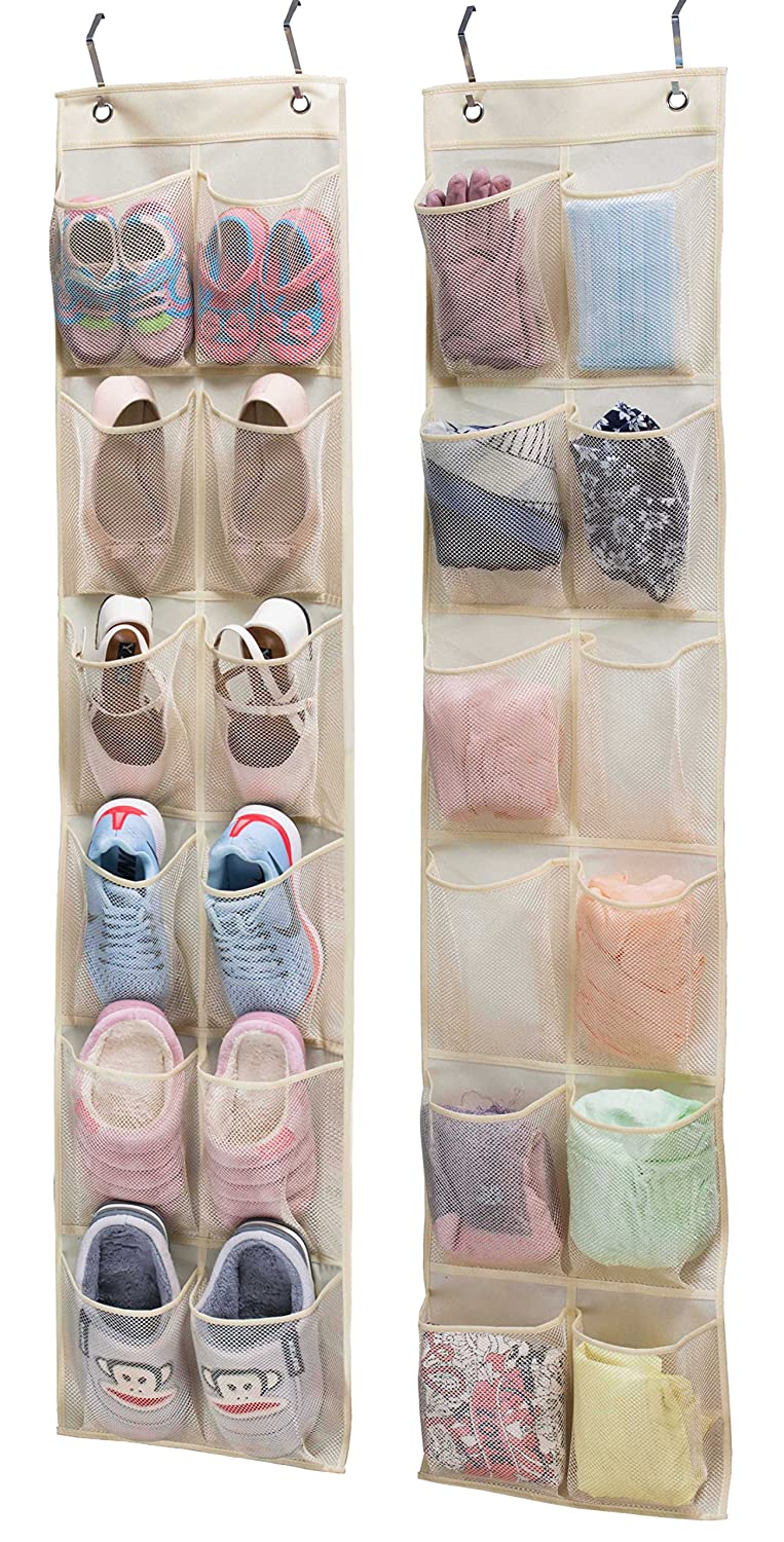 KIMBORA 2 Pack 12 Large Mesh Pockets Over the Door Shoe Organizer Narrow Closet Door Hanging Pantry Organizer, Beige