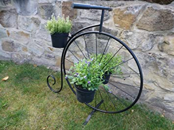 Slk Retail Black Metal Penny Farthing Bicycle Plant Stand Garden