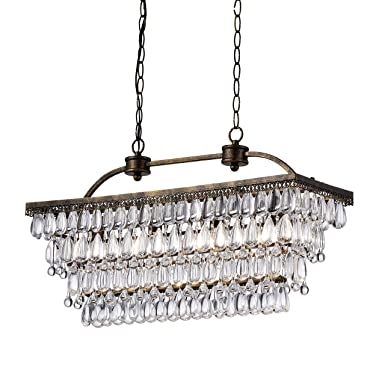 Antique Silver 6-Light Rectangular Glass Droplets Chandelier