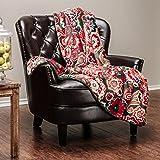 "Chanasya Super Soft Ultra Plush Paisley Print Teal Vibrant Color Sofa Couch Bed Microfiber Throw Blanket( 50"" x 65"")- Paisley Teal Blue"