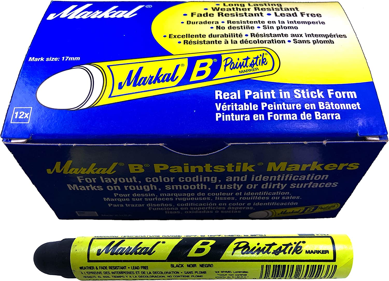 Two Markal B Black Tire Chalk Paint Stick Crayon Surface Markers Graffiti Art