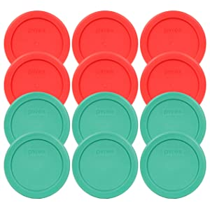 Pyrex 7202-PC 1 Cup (6) Green (6) Red Round Plastic Food Storage Lids