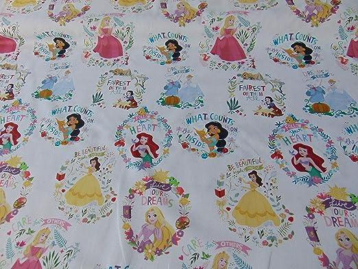 Tela princesas Disney 100% algodón (blanco): Amazon.es: Hogar