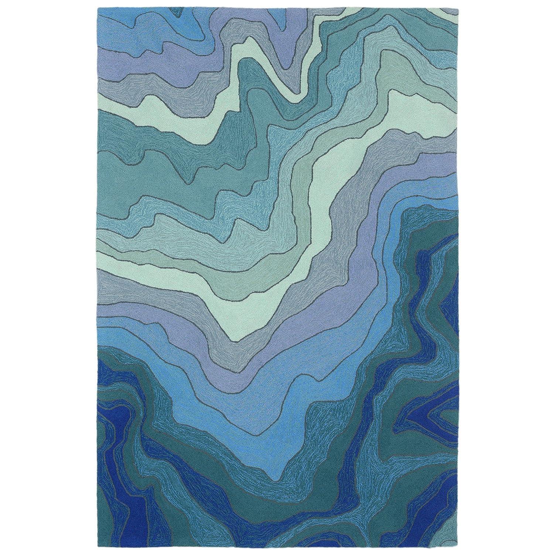 RV1R8A77203 Liora Manne RVLR8226703 Ravella Ocean Waves Mykonos Indoor//Outdoor Runner Rug 2 X 8 Blue Trans-Ocean Import Co