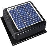 Durabuilt Solar Powered Attic Fan - 20-Watt Roof Mount Ventilator with Adjustable Panel & 24 Volt Motor - 527S-DUB-106-BLK