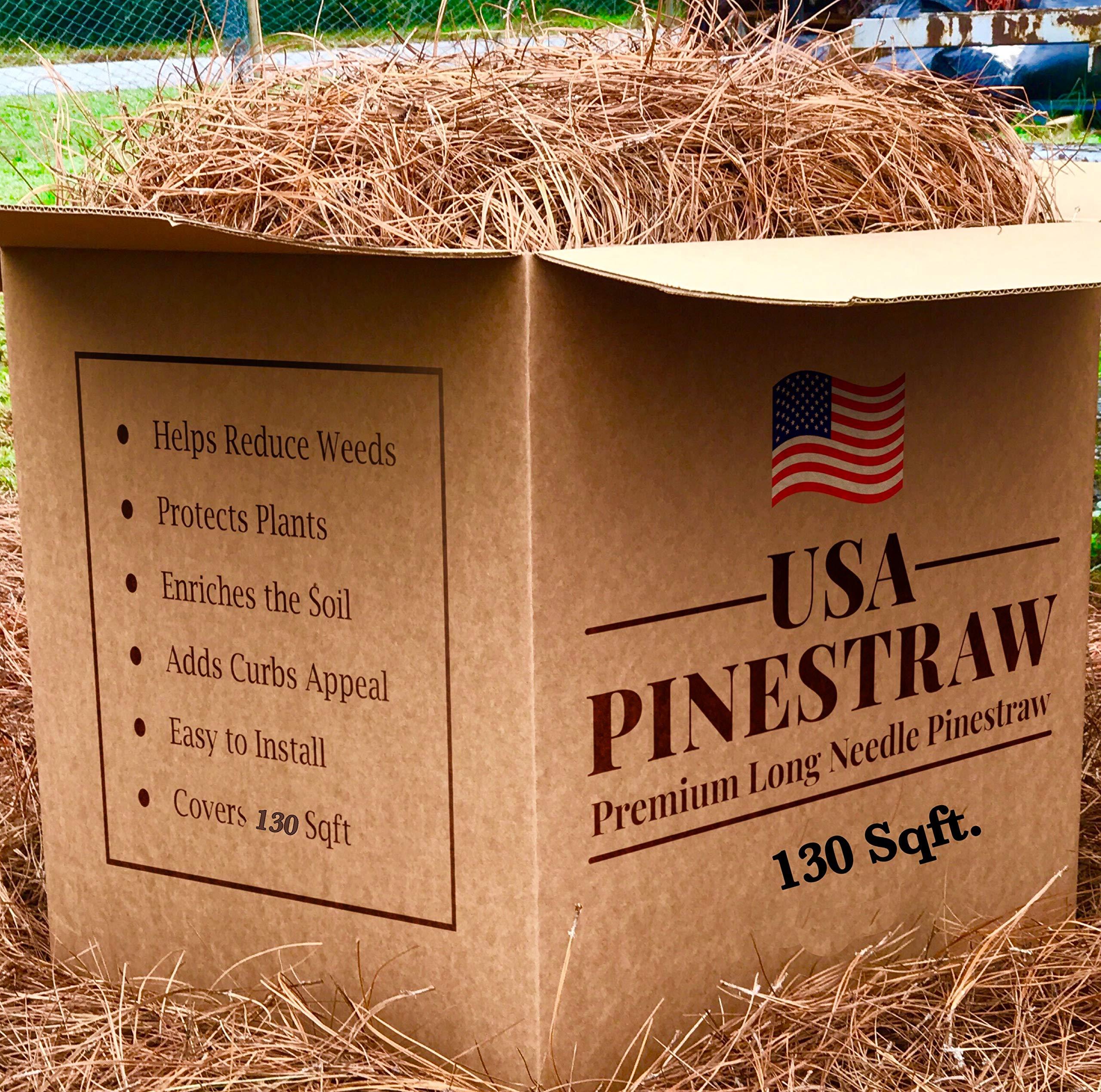 USA Pine Straw - Premium Pine Needle Mulch - Covers 130 Sqft