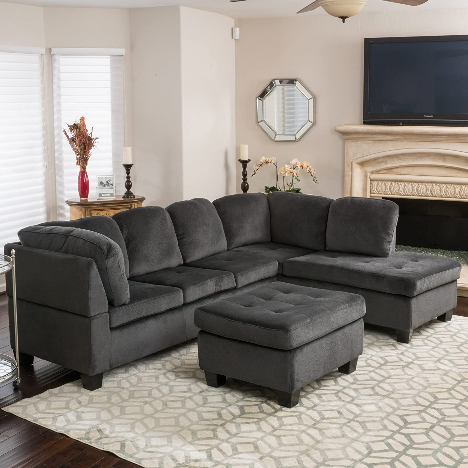 Amazon Gotham 3 piece Charcoal Fabric Sectional Sofa Set