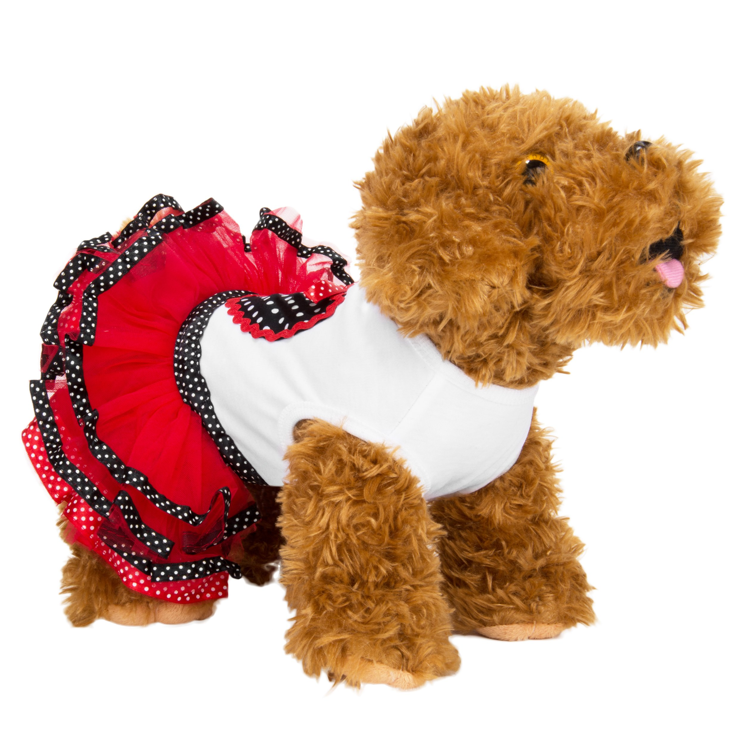 CueCue Pet Minnie Polka Dot Ruffled Dress, Black/Red/White, Small