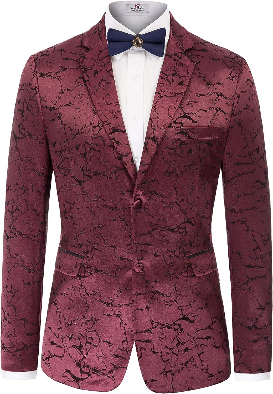 PAUL JONES Men's Stylish Slim Fit Luxury Jacquard Suit Blazer