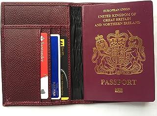 Bordeaux Top Grain Cuir de vache fin passeport ID Coque portefeuille de voyage 14x 10cm