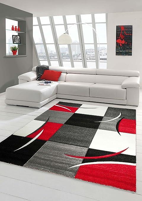 Salon Designer Tapis Contemporain Tapis, Moquette à Motif Diamant Contour  de Coupe Rouge Gris Blanc Noir (160x230 cm)