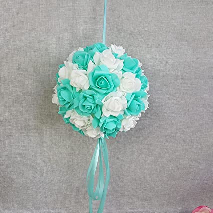 Amazon Turquoise White Kissing Ball 9 Artificial Flower Rose