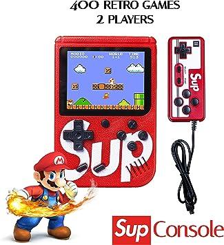 Amazon.es: JDD Sup Retro Mini Consola portátil para Juegos 400 Juegos 2 Jugadores Soporte para conectar TV, Rojo, 6.6 x 6.3 x 1.5 Inches