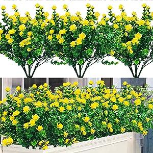 Dreamfun 20 Bundles Outdoor Artificial Flowers Plants Decoration - UV Resistant Plastic Flowers for Outside Faux Plants Fake Landscape Flowers Greenery Shrub Plants for Party Home Garden Decor(Yellow)