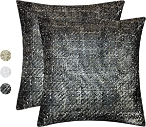 """Tweed Decorative Pillow Cover – Throw Pillow Cover with Gold Metallic Finish – Cottage Home Décor Pillow Case – 18 x 18 Inch Farmhouse Rustic Cushion Cover (18 x 18"""" Cover - 2 PCS, Black / Gold)"""