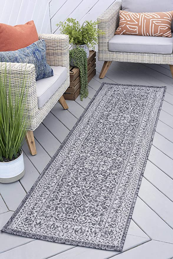 Amazon Com Liva Charcoal Outdoor 3x8 Runner Area Rug For Hallway Walkway Entryway Or Foyer Floral Kitchen Dining