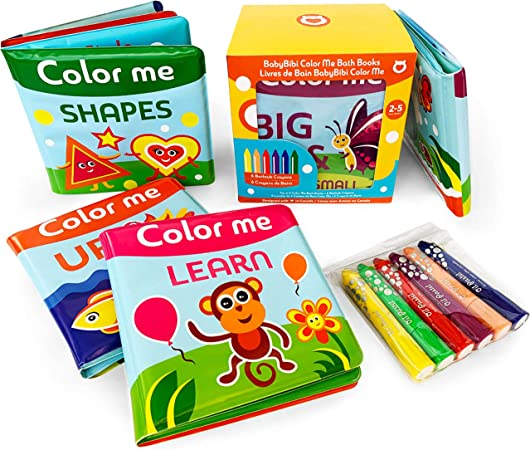 BabyBibi Color Me Bath Books Plus Crayons – Set of 4 Different Books – Includes 6 Washable Bath Crayons – Learn and Play Including Opposites and Shapes – Suitable for 3+ Months – ASTM Certified