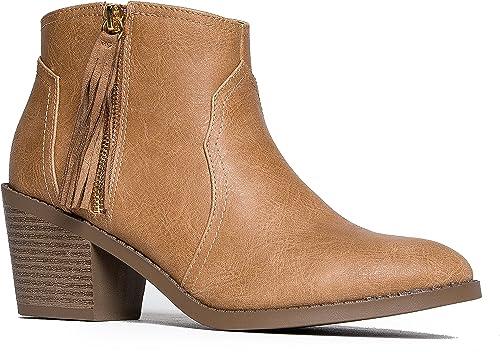 Western Pointy Toe Ankle Bootie Faux Suede Tassel Zipper Chunky Heel Soda Rowley