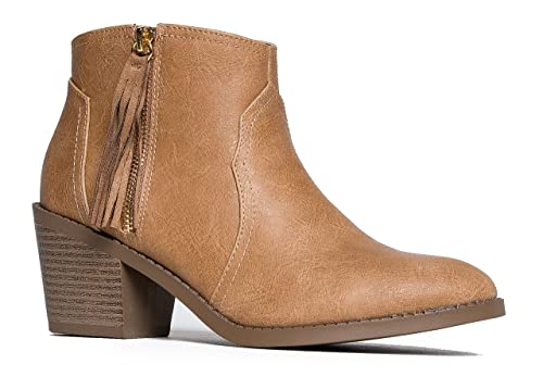 a237b970cd3 Low Western Ankle Bootie - Fringe Zip Up Boot - Cute Tassel Casual Heel -  Simple Leather Walking Shoe