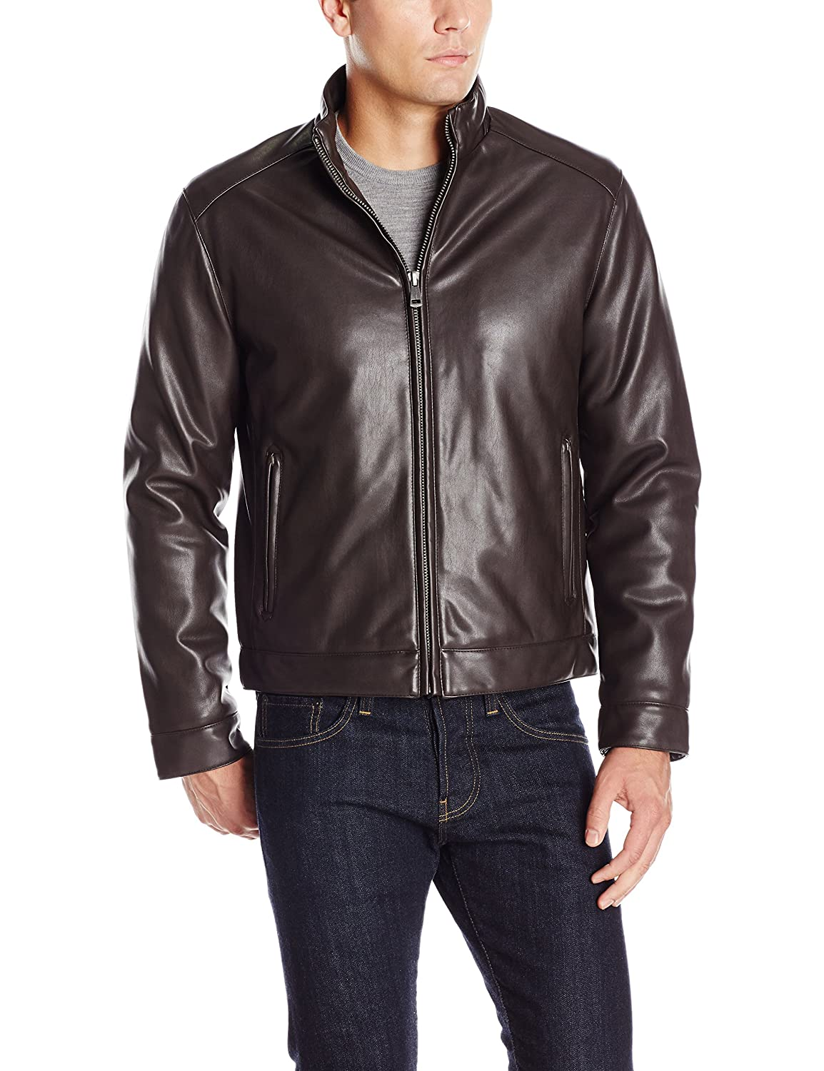 Cole Haan Signature Men's Zip Front Faux Leather Moto Jacket