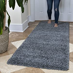 "Ottomanson Soft Cozy Color Solid Shag Runner Rug Contemporary Hallway and Kitchen Shag Runner Rug, Grey, 2'7""L X 8'0""W"