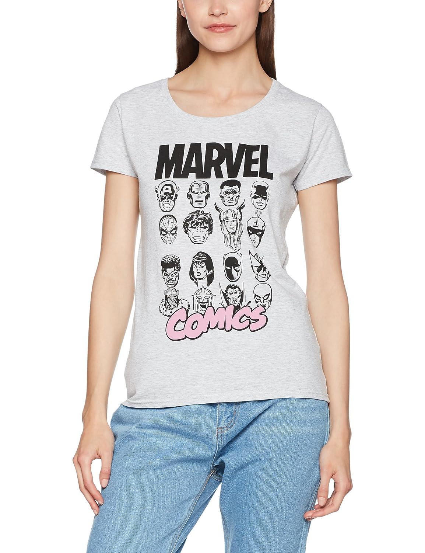 TALLA 40 (Tamaño Fabricante:Medium). Marvel Comics Multi Heads Ladies Camiseta para Mujer