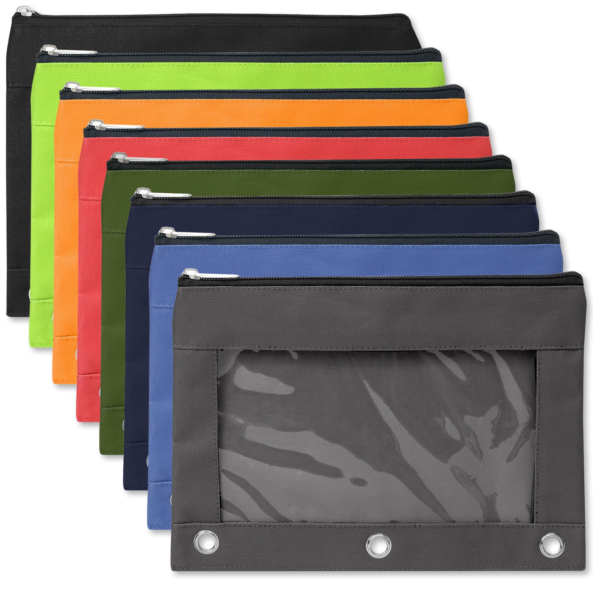 3 Ring Pencil Cases with Clear Window - Bulk Wholesale Pack of 96 Pieces (8 Color Assortment) by Trail maker