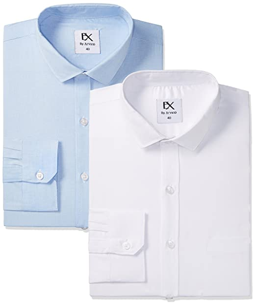b5f6924536c Excalibur by Unlimited Men s Formal Shirt (Pack of 2)  (8907542906291 273625807 42 Assorted)  Amazon.in  Clothing   Accessories