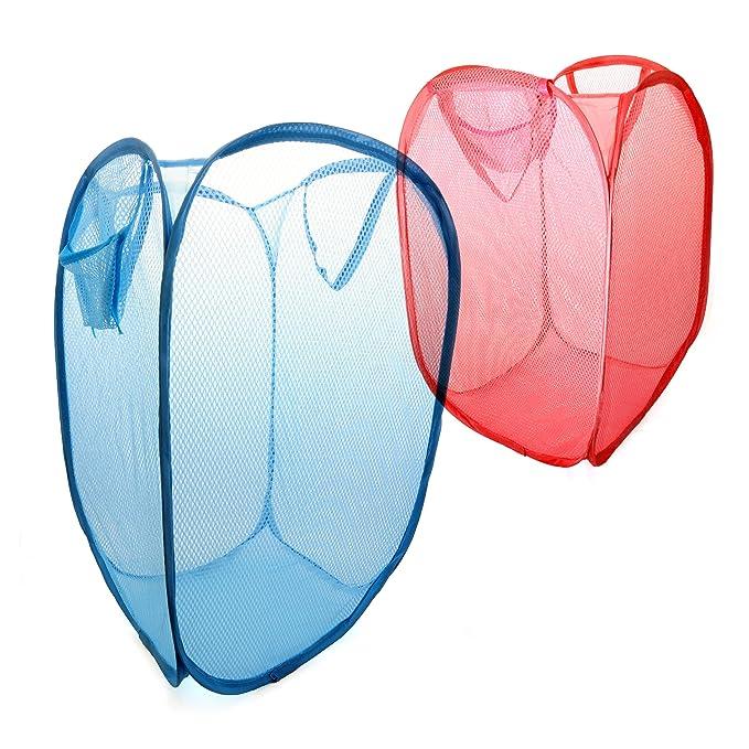 Dehnbar Marke Ganzoo Kleiderkorb // W/äschenetz aus Nylon Faltbarer W/äschekorb W/äschesammler Farbe: pink