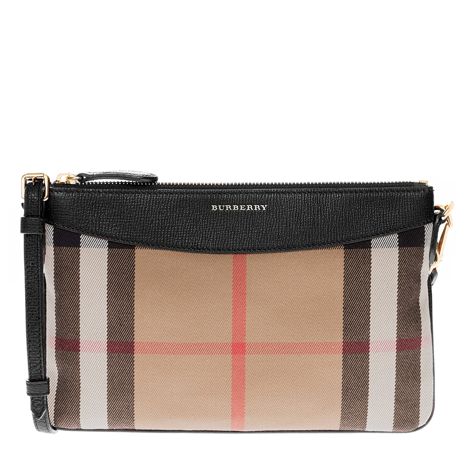 Amazon Burberry Women s House Check and Clutch Bag Black Clothing