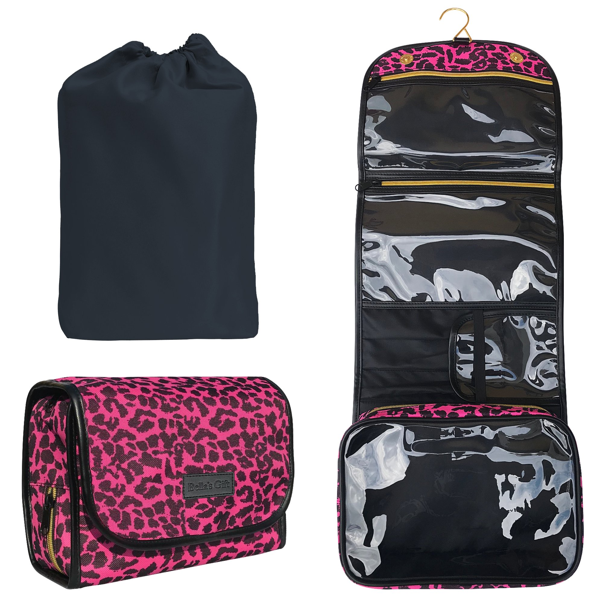 9cd4c78a2bd0 Hanging Toiletry Bag - Travel Kit for Women - Compact Makeup Case - Cosmetic  Essentials Pouch