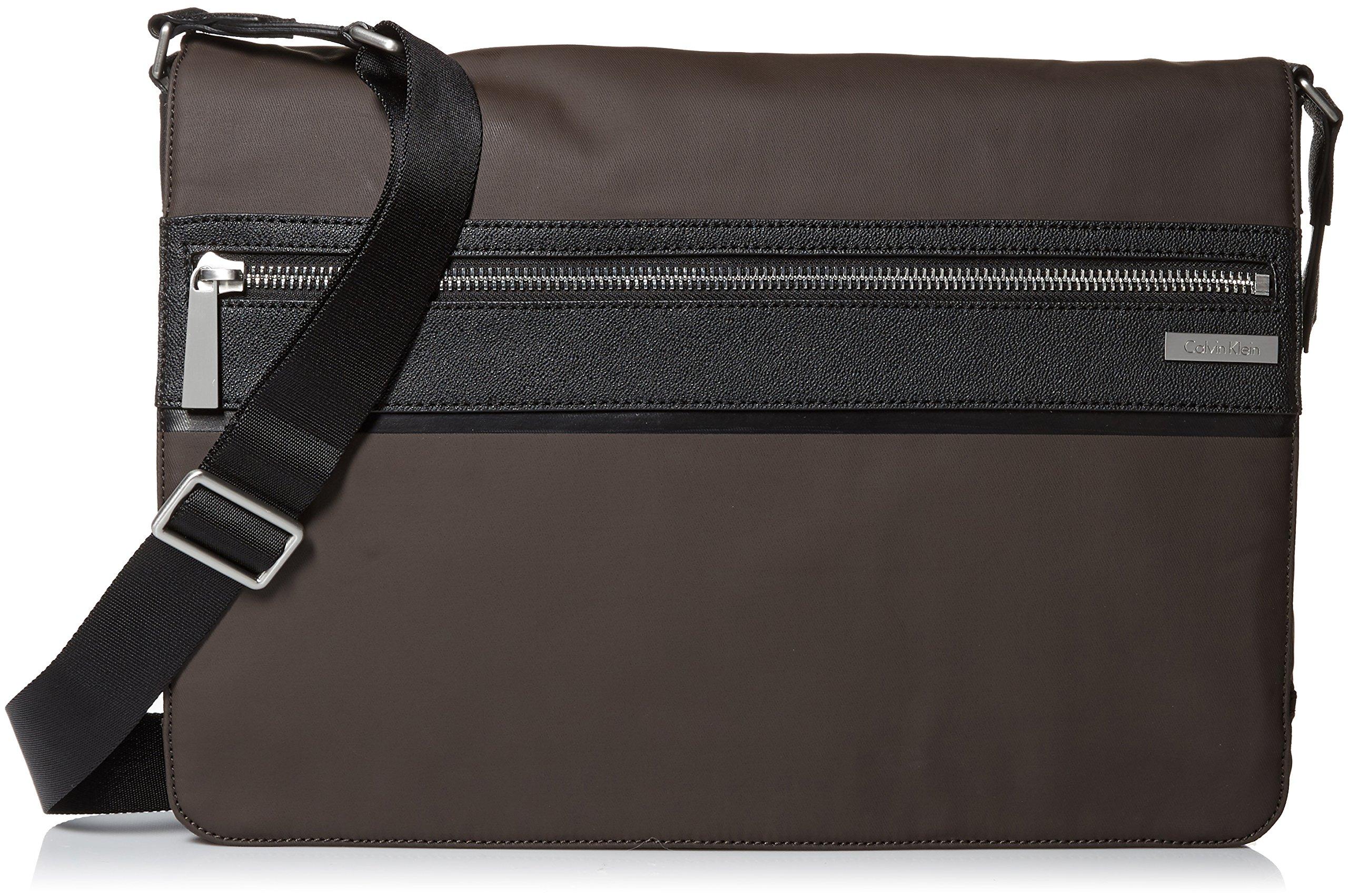Calvin Klein Men's Coated Nylon with Saffiano Trim Messenger, Dark Chocolate Brown