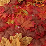 UNOMOR Artificial Maple Leaves for Autumn Decorations, Fall Leaves for Thanksgiving Wedding Party Decorating, Mixed Fall Colored Autumn Leaves in 2 Sizes with 190 Assorted