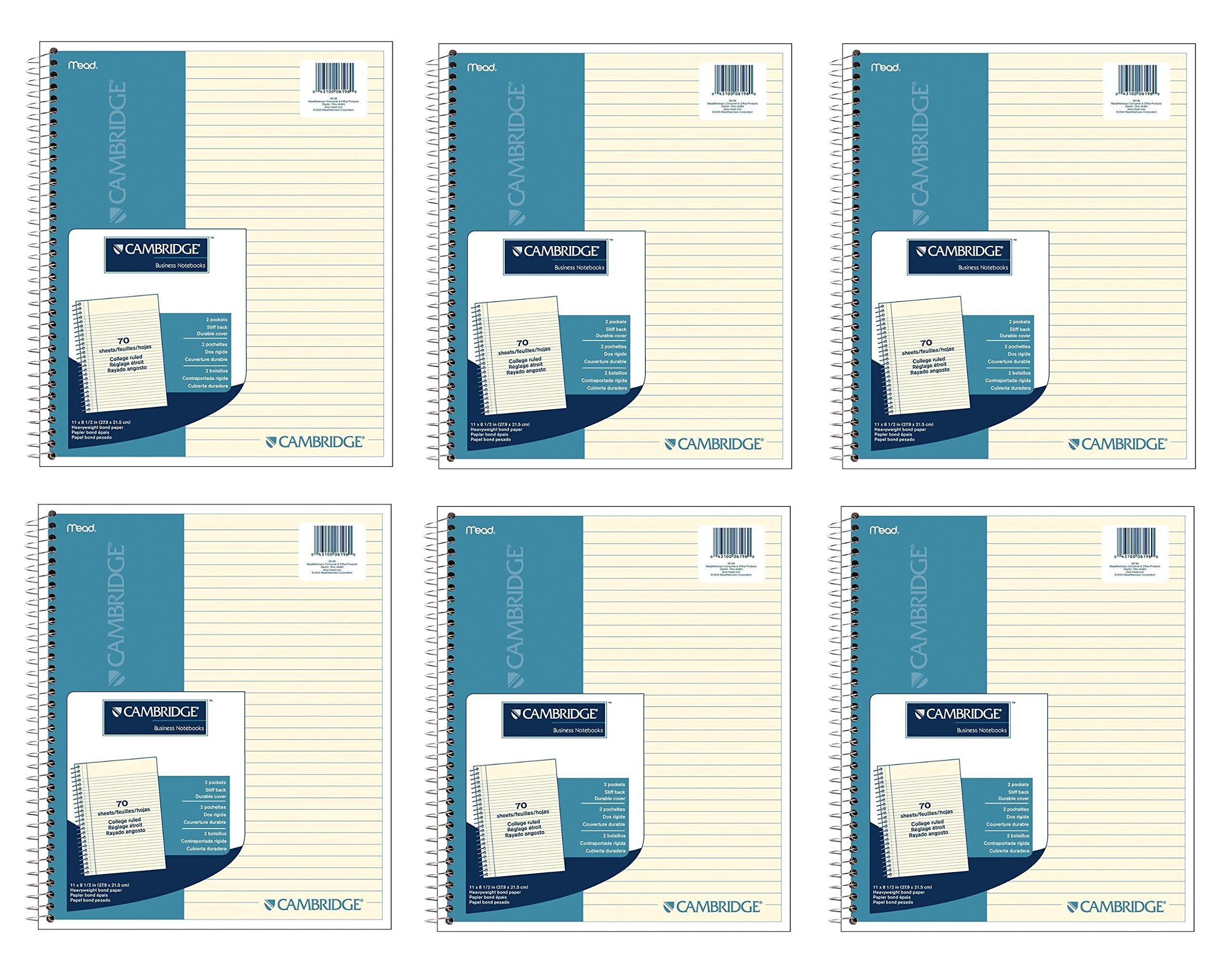 Cambridge Ivory Wirebound Notebook, 70 Sheets, 6 Pack (06196)