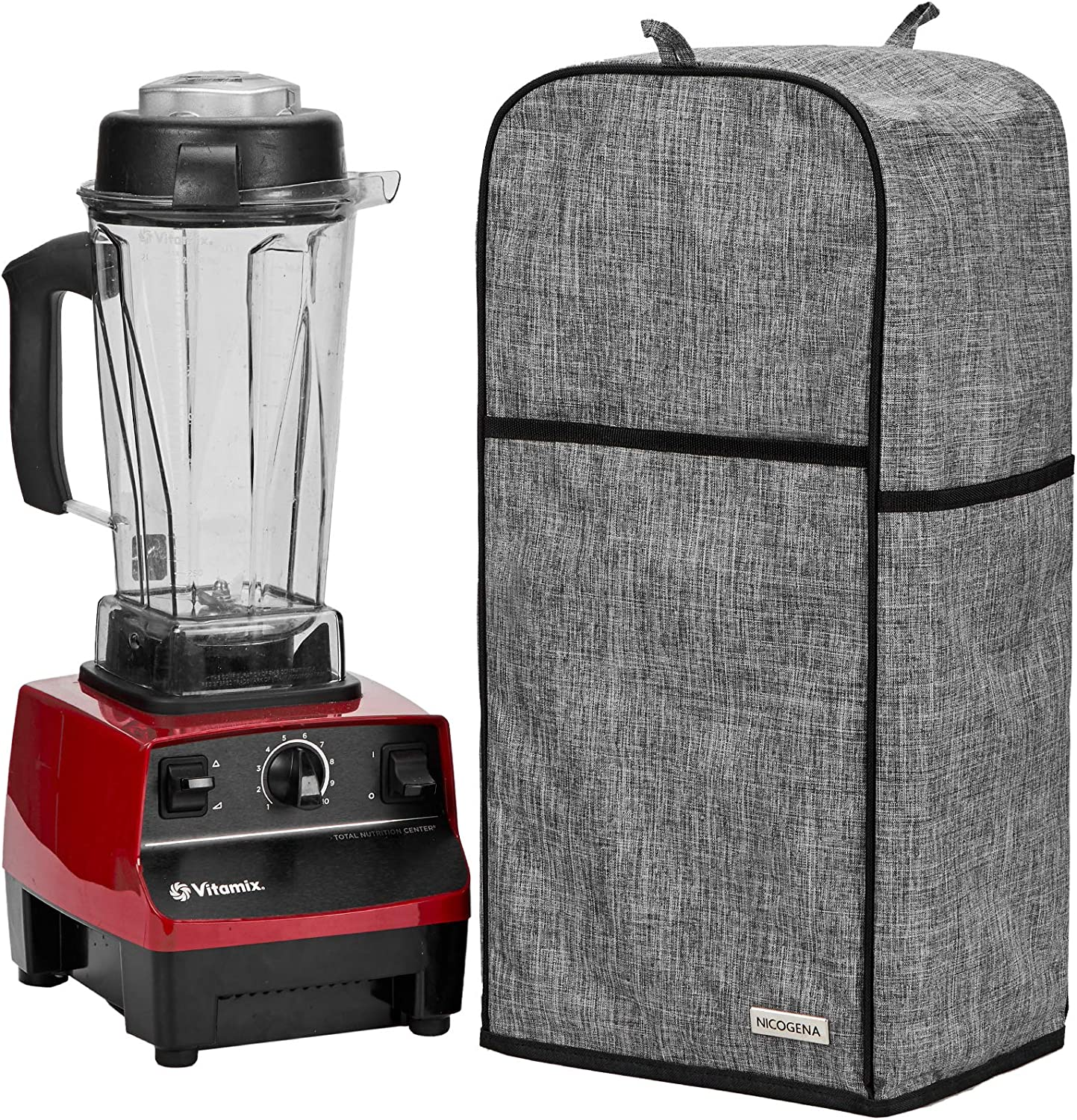 NICOGENA Blender Dust Cover with Accessory Pocket Compatible with Vitamix Classic C-series 5200, Turboblend, Large, Grey