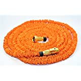 Expandable Water Hose, 100% Brass Fittings, Brass Shut off Valve, High Visibility Orange, 50 ft, Wont kink or tangle, Double Reinforced Core layer, Most Durable, Includes Nozzle, Highest Quality