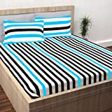 Story@Home 100% Cotton Double Bedsheet With 2 Pillow Covers Combo Set, Mercerized Finish - Metro Series, 186 TC, Stripes (Black & Blue)