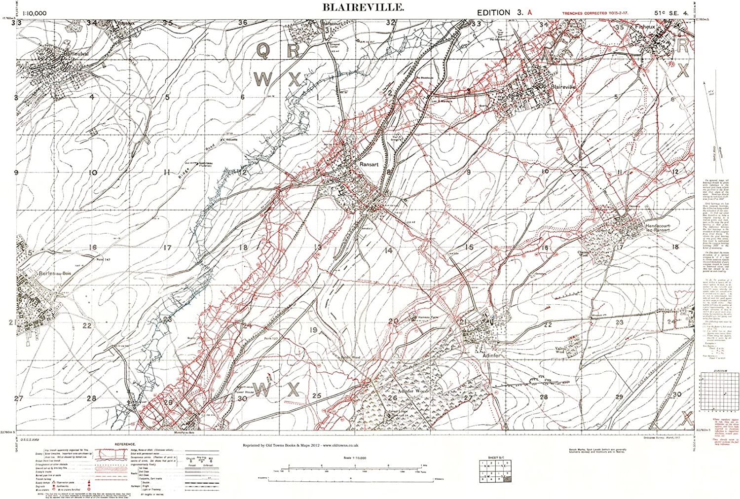 Trench Map WW1, Blaireville, February 1917, 1:10,000 scale ...