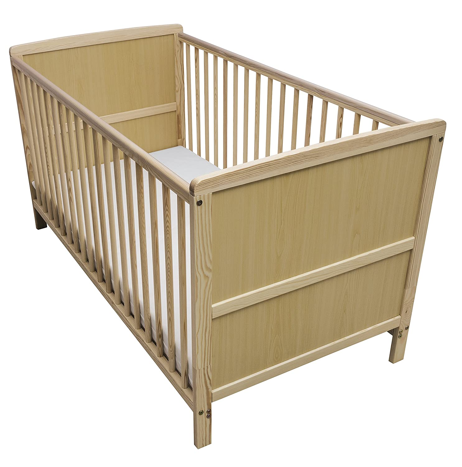 Kinder Valley Solid Pine Wood 2-in-1 Junior Cot Bed, Natural, 144 x 76 x 80 cm 52001