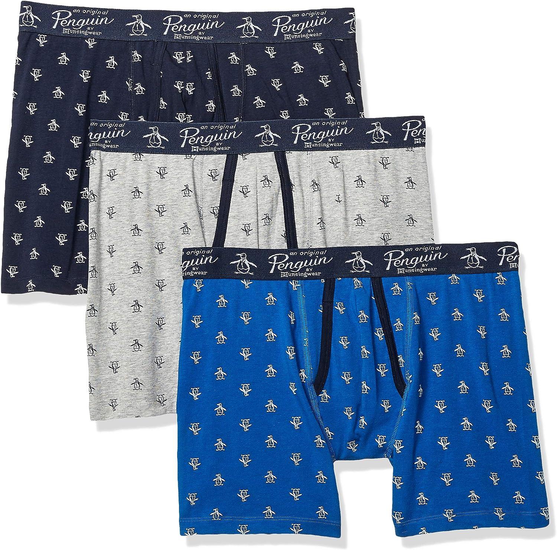 Large 3 Pack LTGYH//SKCPTE//Cobalt Multipack Original Penguin Mens Cotton Stretch Boxer Brief Underwear