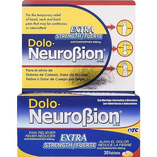Amazon.com: Dolo Neurobion 30 Tablets - Pain Reliever, Fever Reducer, Extra Strength, Fuerte, Alivia el Dolor, Reduce la Fiebre: Health & Personal Care